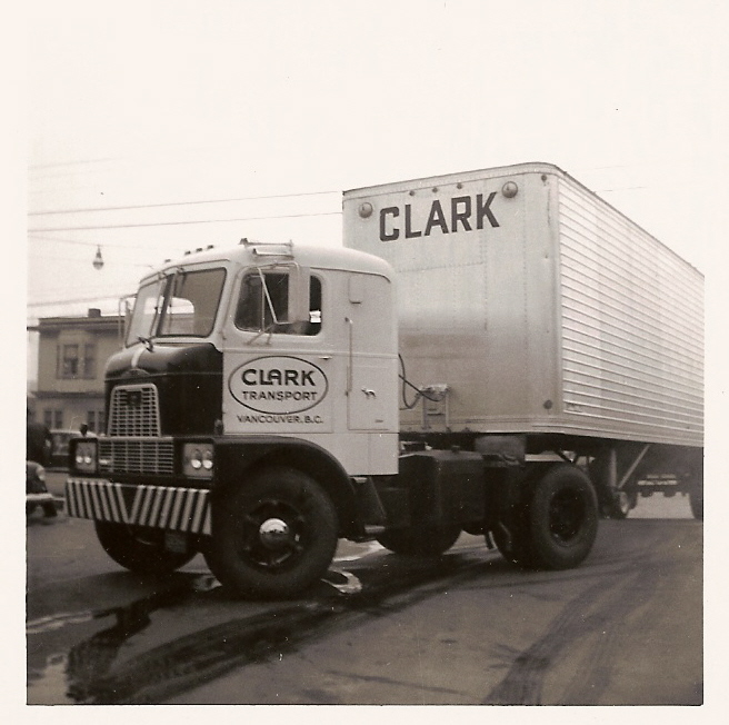 Jim Clark's first new single axle Pulling a 30ft. trailer, October 1959